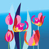 Bright background with multi-colored tulip