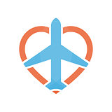 Vector airplane and heart logo design template. Airport logo. Sky travel logo. Travel agency logo. Vector logo template.