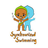 Cartoon Girl Synchronized Swimmer