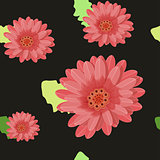 gerbera flowers seamless on a dark. vector illustration
