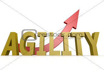 Agility word with red arrow