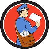Mailman Deliver Letter Circle Cartoon