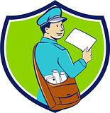 Mailman Deliver Letter Crest Cartoon