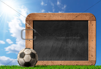 Football Soccer - Empty Blackboard with Ball