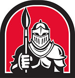 Knight Full Armor Holding Paint Brush Half Circle Retro