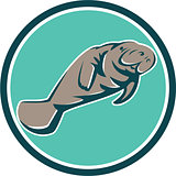 Manatee Sea Cow Circle Retro