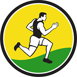 Marathon Runner Circle Retro