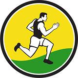Marathon Runner Circle Retro