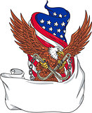 American Eagle Clutching Towing J Hook Flag Unfurled Drawing