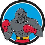 Gorilla Boxer Boxing Stance Circle Cartoon