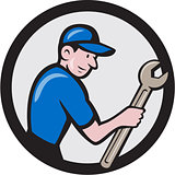 Handyman Holding Spanner Circle Cartoon