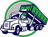 Roll-Off Bin Truck Driver Thumbs Up Circle Cartoon
