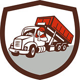 Roll-Off Bin Truck Driver Thumbs Up Shield Cartoon
