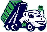 Roll-Off Bin Truck Waving Cartoon