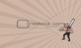 Business card Dog Muscular Chainsaw Cartoon