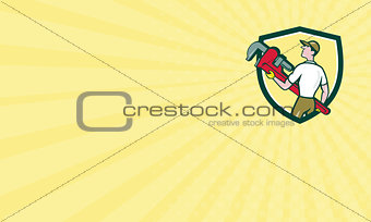 Business card Plumber Carry Monkey Wrench Walking Crest Cartoon