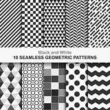 Set of vector geometric seamless patterns