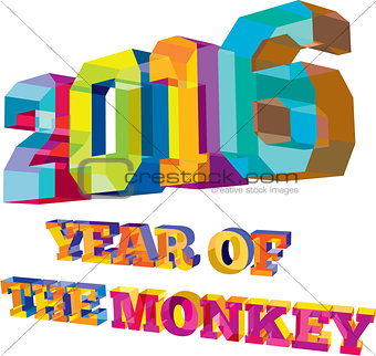 2016 Year of the Monkey Low Polygon