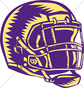 American Football Helmet Woodcut