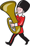 Brass Band Member Playing Tuba Cartoon