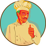 Chef With Mustache Thumbs Up Circle WPA