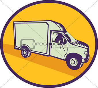 Closed Delivery Van Woodcut