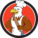 Bald Eagle Baker Chef Rolling Pin Circle Cartoon