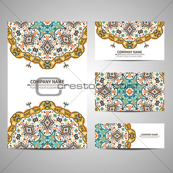 Business colorful card template. Vector illustration in native style