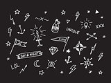 Set of drawn old school tattoo elements. Black and white.