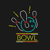 Vector Neon Symbol Bowling Center