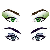 Set of realistic cartoon vector female eyes and brows