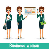 Business woman character vector set