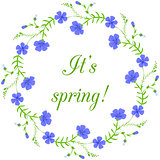 Floral frame, spring wreath design element