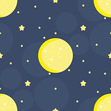 Seamless pattern with moon and stars in vector. Cute hand draw background.