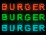 Burger bar neon sign set isolated on black background