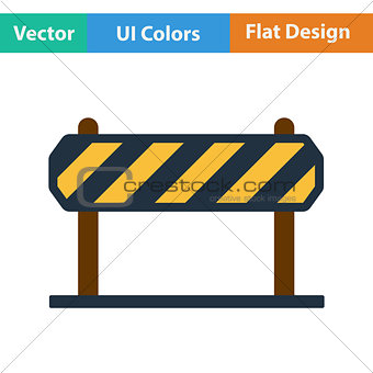 Flat design icon of construction fence