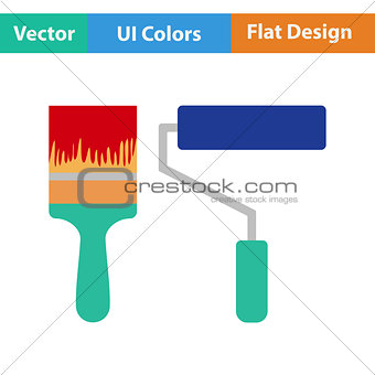 Flat design icon of construction paint brushes