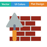 Flat design icon of brick wall with trowel