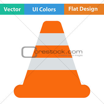 Flat design icon of Traffic cone