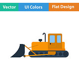 Flat design icon of Construction bulldozer
