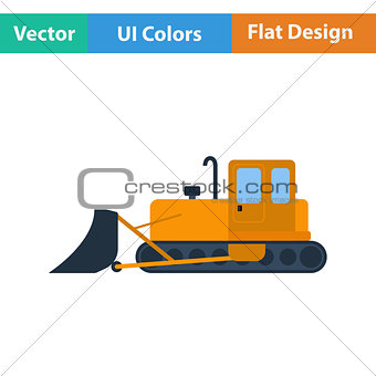 Flat design icon of Construction bulldozer