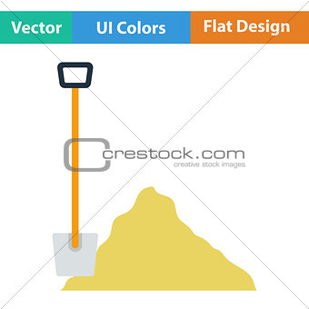 Flat design icon of Construction shovel and sand