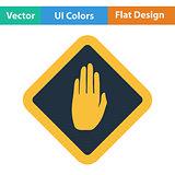 Flat design icon of Warning hand