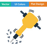 Flat design icon of Construction jackhammer