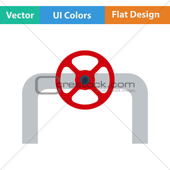 Flat design icon of Pipe with valve