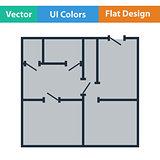 Flat design icon of apartment plan
