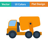 Flat design icon of Concrete mixer truck