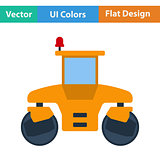 Flat design icon of road roller