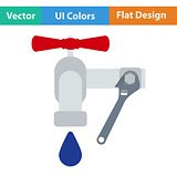 Flat design icon of wrench and faucet
