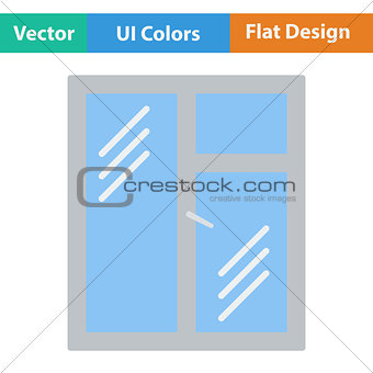 Flat design icon of closed window frame